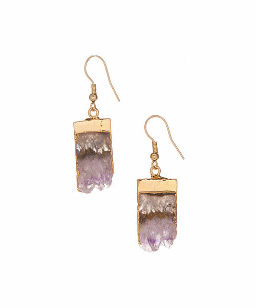 Brazilian Amethyst 14K Electroplated Gilded Raw Point Down Organic Earrings