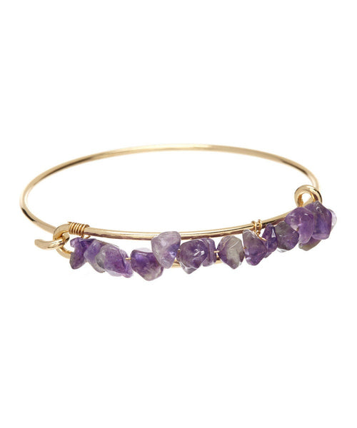 Amethyst Gold Wire Bangle