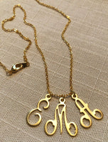Delicate Monogram Charm Necklace Matte Gold