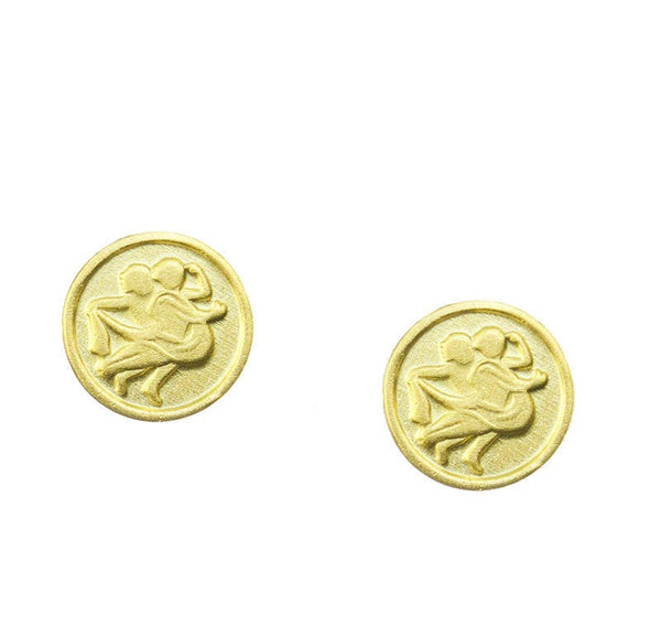 Gemini Zodiac Mini Token Stud Earrings