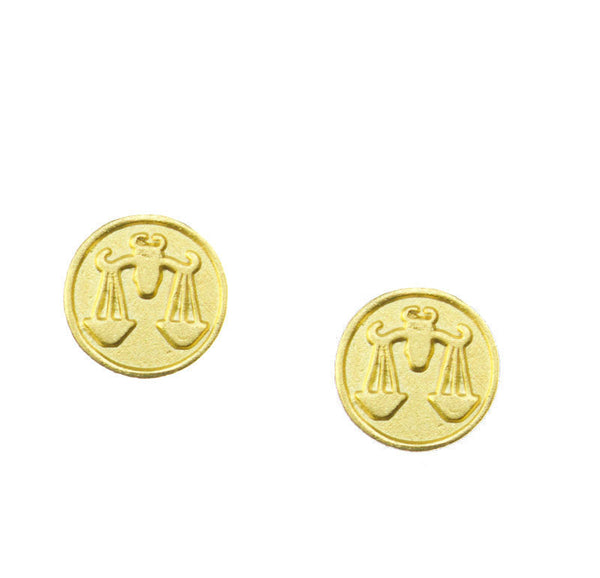 FREE SHIPPING Libra Zodiac Mini Token Stud Earrings