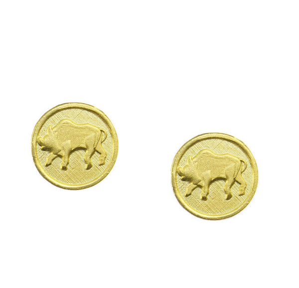 FREE SHIPPING Taurus Zodiac Mini Token Stud Earrings