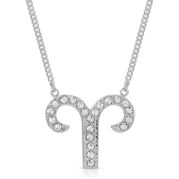 Aries Pave Crystal Sparkle Zodiac Festoon Birthday Necklace