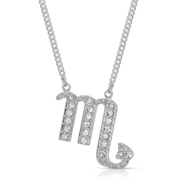 FREE SHIPPING Scorpio Pave Crystal Sparkle Zodiac Festoon Birthday Necklace
