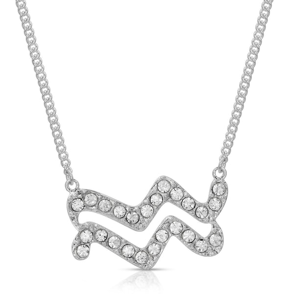 Aquarius Fine Pave Crystal Zodiac Festoon Necklace