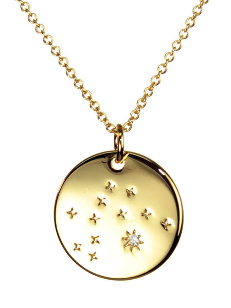 FREE SHIPPING Aquarius Constellation Token Zodiac Necklace