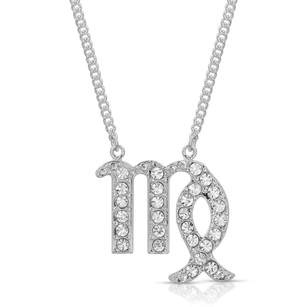 FREE SHIPPING Virgo Pave Crystal Sparkle Zodiac Festoon Birthday Necklace
