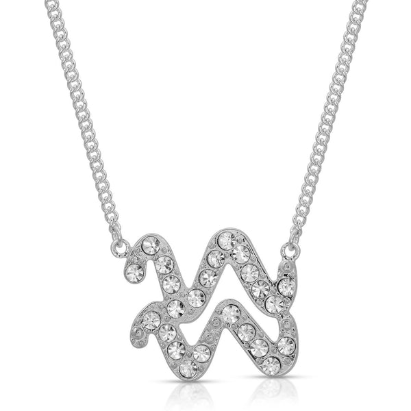Aquarius Pave Crystal Sparkle Zodiac Festoon Necklace