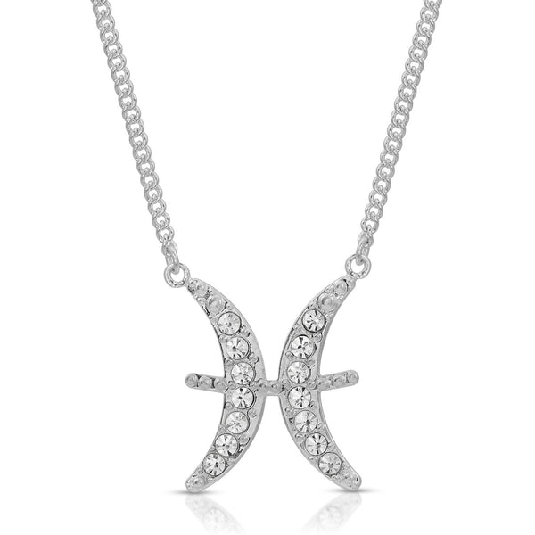 FREE SHIPPING Pisces Pave Crystal Sparkle Zodiac Festoon Birthday Necklace