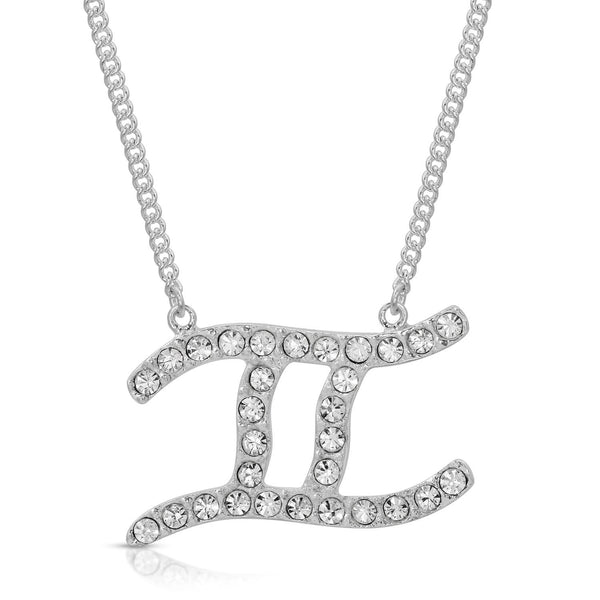Gemini Fine Pave Crystal Zodiac Festoon Necklace