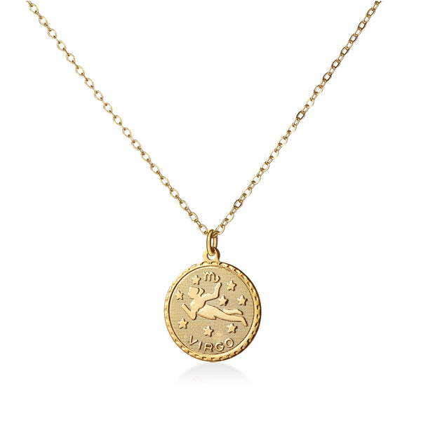 Vintage Virgo Coin Zodiac Necklace