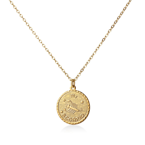 Vintage Scorpio Coin Zodiac Necklace