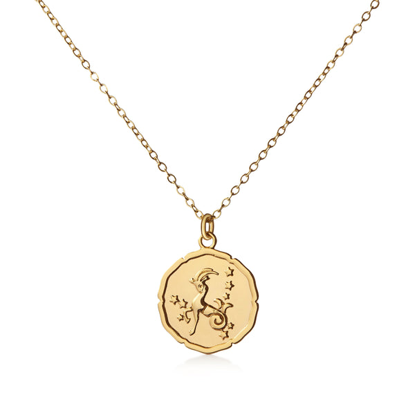 Organic Shiny Capricorn Medallion Zodiac Necklace