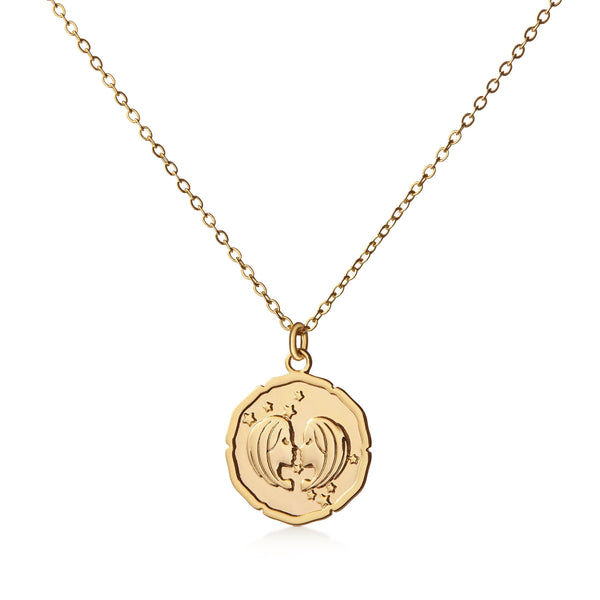 Organic Shiny Gemini Medallion Zodiac Necklace