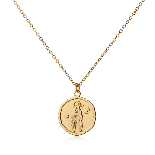 Organic Shiny Virgo Medallion Zodiac Necklace