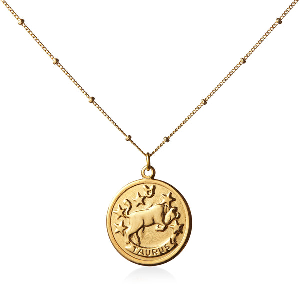 Vintage Taurus Token Zodiac Necklace