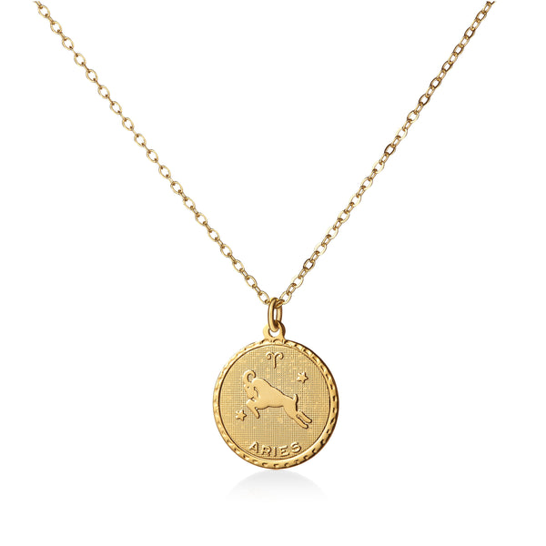 Vintage Aries Coin Zodiac Necklace