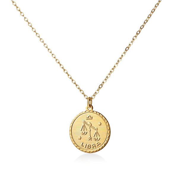 Vintage Libra Coin Zodiac Necklace