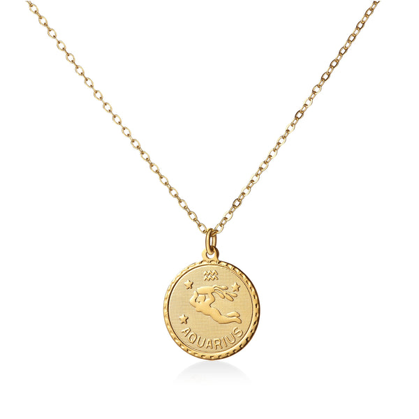 Vintage Aquarius Coin Zodiac Necklace