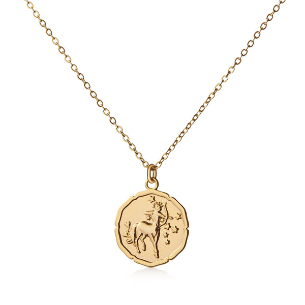Organic Shiny Sagittarius Medallion Zodiac Necklace