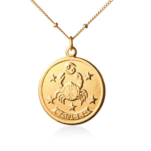 Vintage Cancer Token Zodiac Necklace
