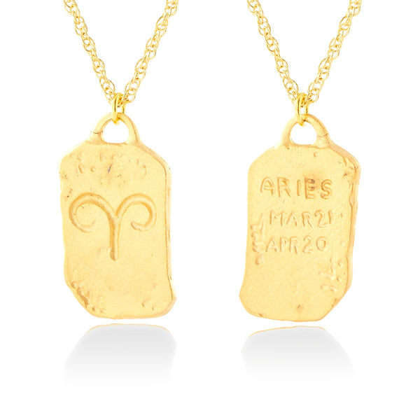 Handmade Aries Tag Inscribed Zodiac Double Sided Necklace