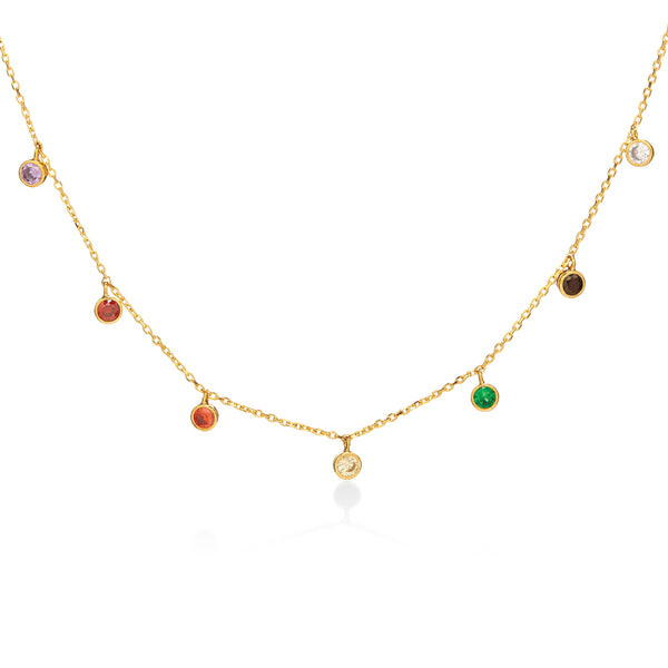 Dainty Rainbow Crystal Bezel Station Necklace