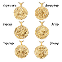 Virgo Gold Cubic Zirconia Zodiac Necklace (All Signs Available)