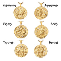 Capricorn Gold Cubic Zirconia Zodiac Necklace (All Signs Available)