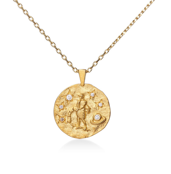 Aquarius Gold Cubic Zirconia Zodiac Necklace (All Signs Available)