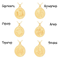Zodiac Organic Coin Necklace - ALL SIGNS!