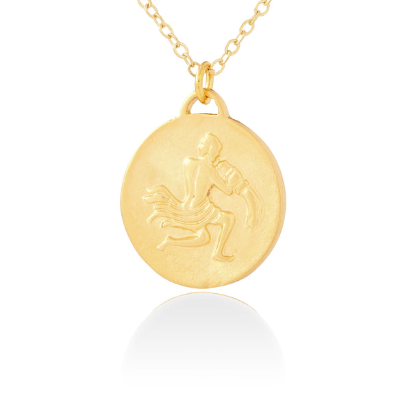 Aquarius Zodiac Organic Coin Necklace