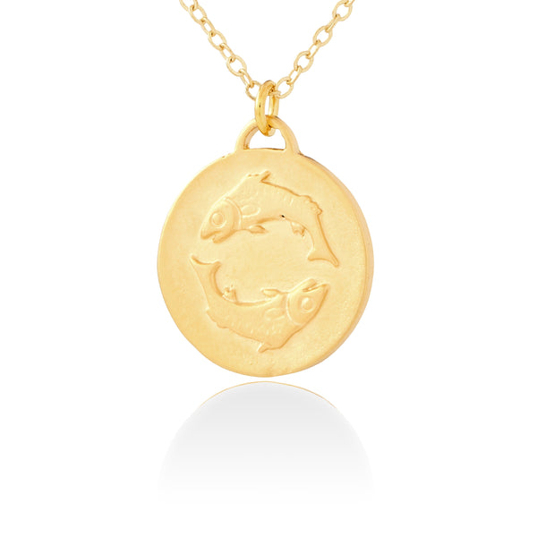 Pisces Zodiac Organic Coin Necklace