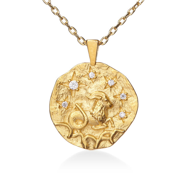 Aries Gold Cubic Zirconia Zodiac Necklace (All Signs Available)