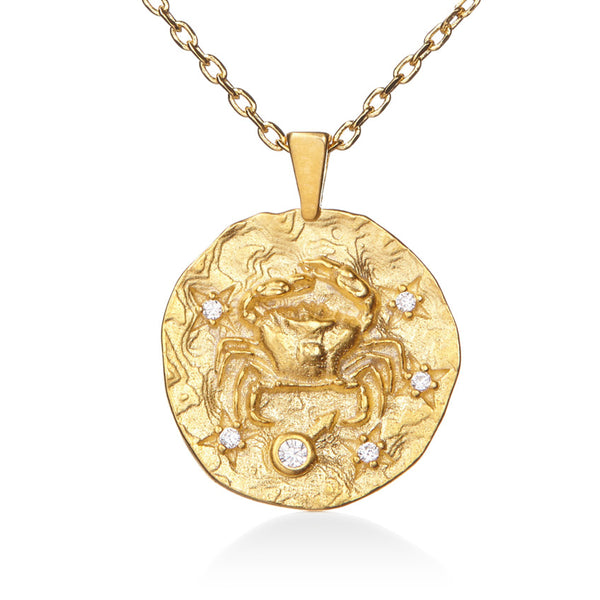 Cancer Gold Cubic Zirconia Zodiac Necklace (All Signs Available)