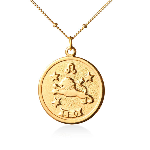 Vintage Leo Token Zodiac Necklace