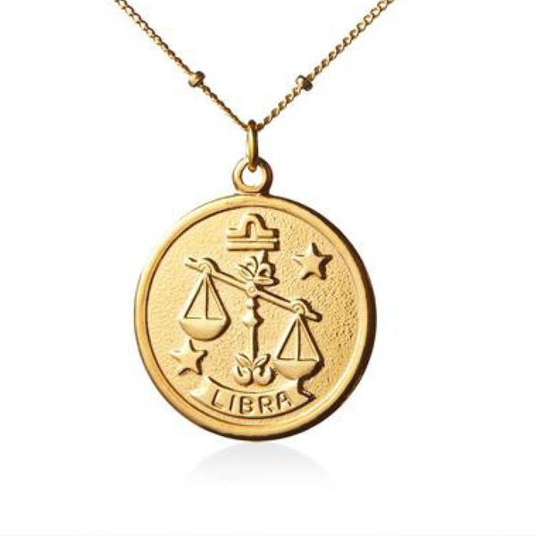 Vintage Libra Token Zodiac Necklace