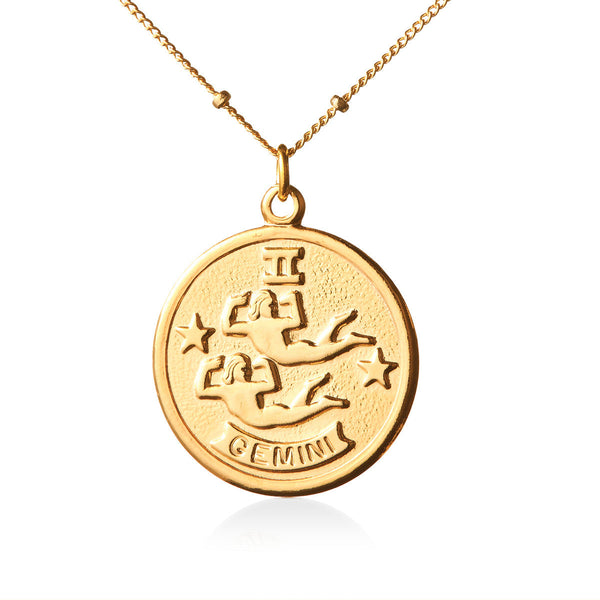 Vintage Gemini Token Zodiac Necklace