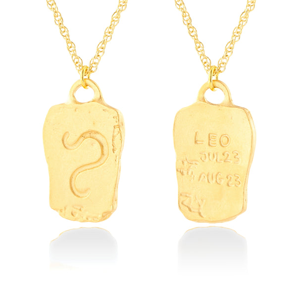 Handmade Leo Tag Inscribed Zodiac Double Sided Necklace