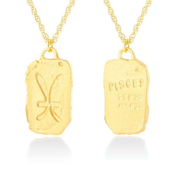 Handmade Pisces Tag Inscribed Zodiac Double Sided Necklace