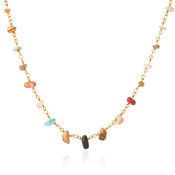 Genuine Semiprecious Wire Wrapped Chip Necklace