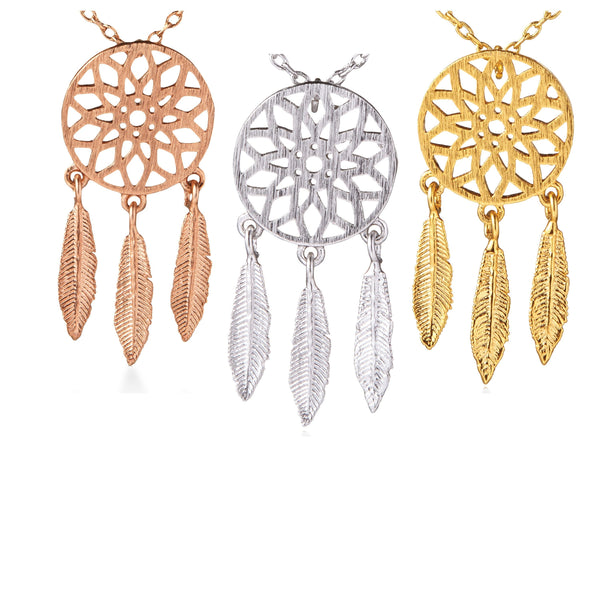Dreamcatcher with Feathers Necklace (Gold, Rose Gold, Rhodium Silver)