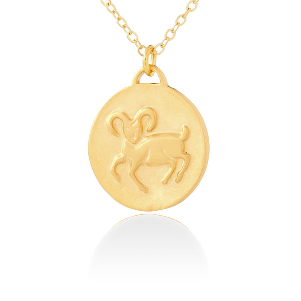 Aries Zodiac Organic Coin Necklace