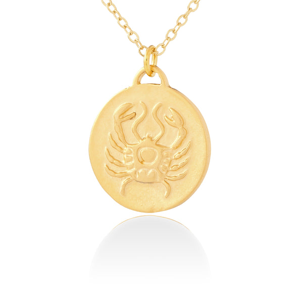 Cancer Zodiac Organic Coin Necklace
