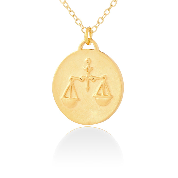 Libra Zodiac Organic Coin Necklace