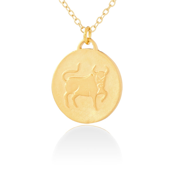 Taurus Zodiac Organic Coin Necklace