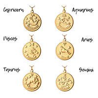 Vintage Pisces Token Zodiac Necklace