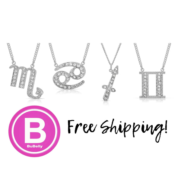 FREE SHIPPING Pave Crystal Sparkle Zodiac Festoon Birthday Necklace