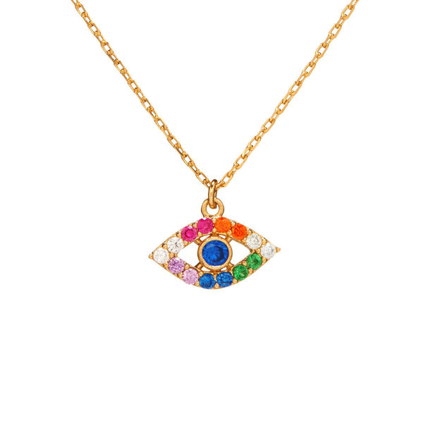 Dainty Pave Rainbow Protection Eye Necklace