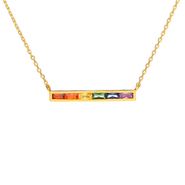 Dainty Rainbow Baguette Bar Necklace